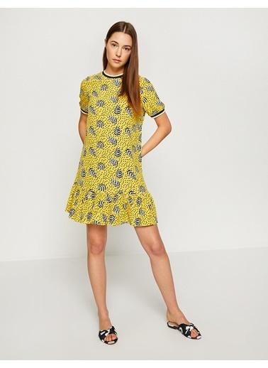 Koton Etek Ucu Volanlı Desenli Elbise Sarı